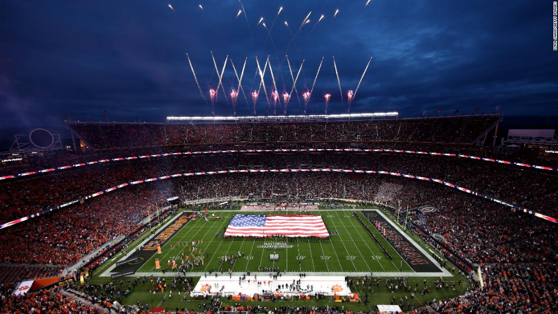 Fireworks explode over Levi's Stadium as Andy Grammer performs the National Anthem.