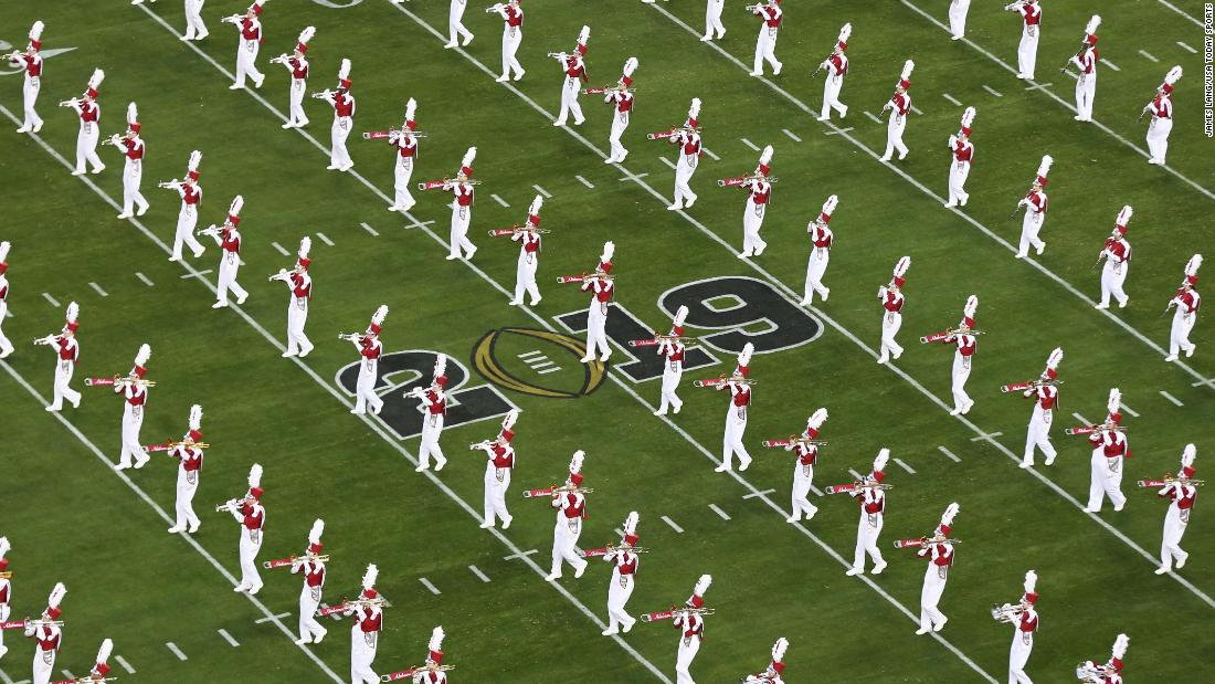 The Alabama band performs before the game.