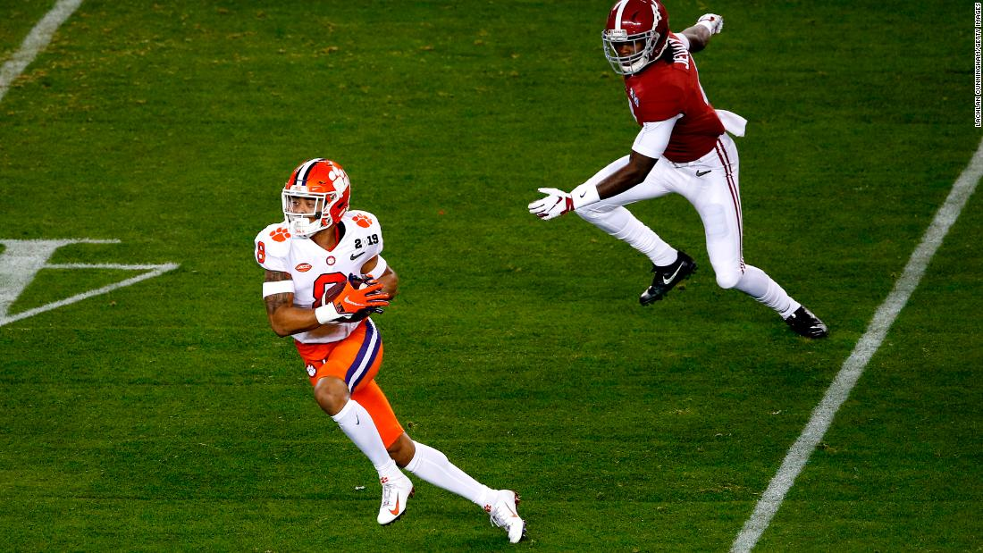 The opening score of the game came when Clemson's A.J. Terrell intercepted Tagovailoa and ran it back 44 yards for a touchdown.