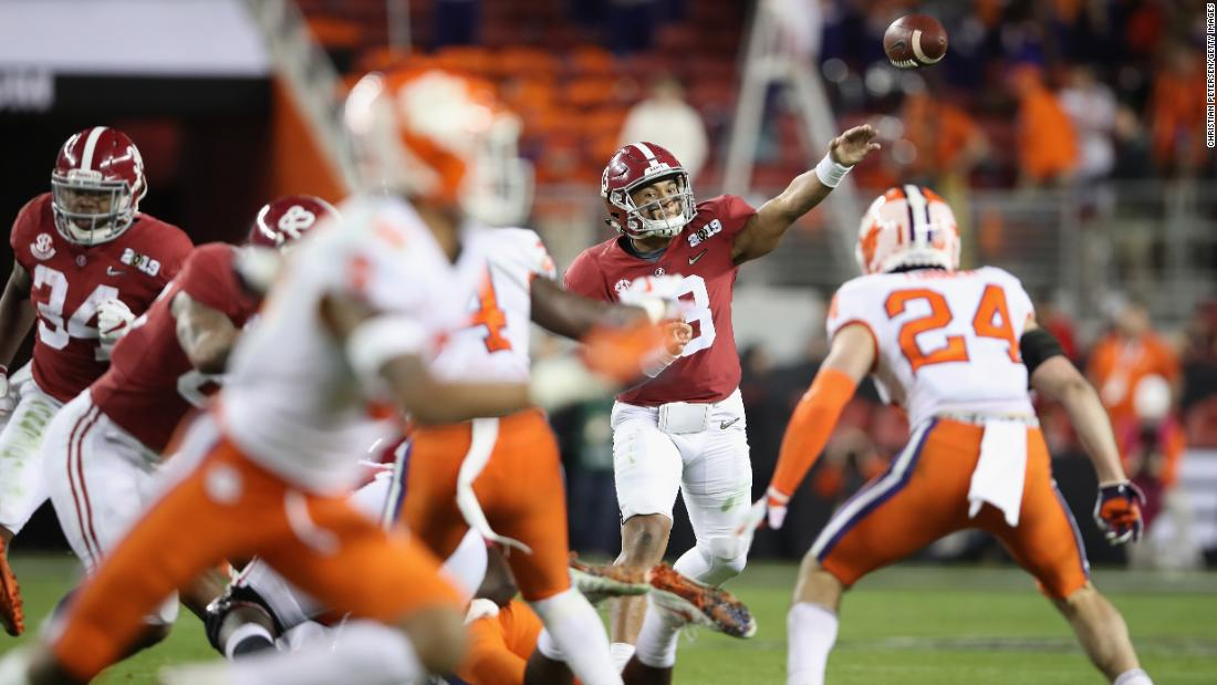 Tagovailoa attempts a second-half pass.