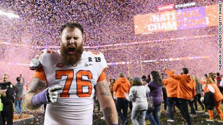 SANTA CLARA, CA - JANUARY 07:  Sean Pollard #76 of the Clemson Tigers celebrate his teams 44-16 win over the Alabama Crimson Tidein the CFP National Championship presented by AT&T at Levi's Stadium on January 7, 2019 in Santa Clara, California.  (Photo by Thearon W. Henderson/Getty Images)