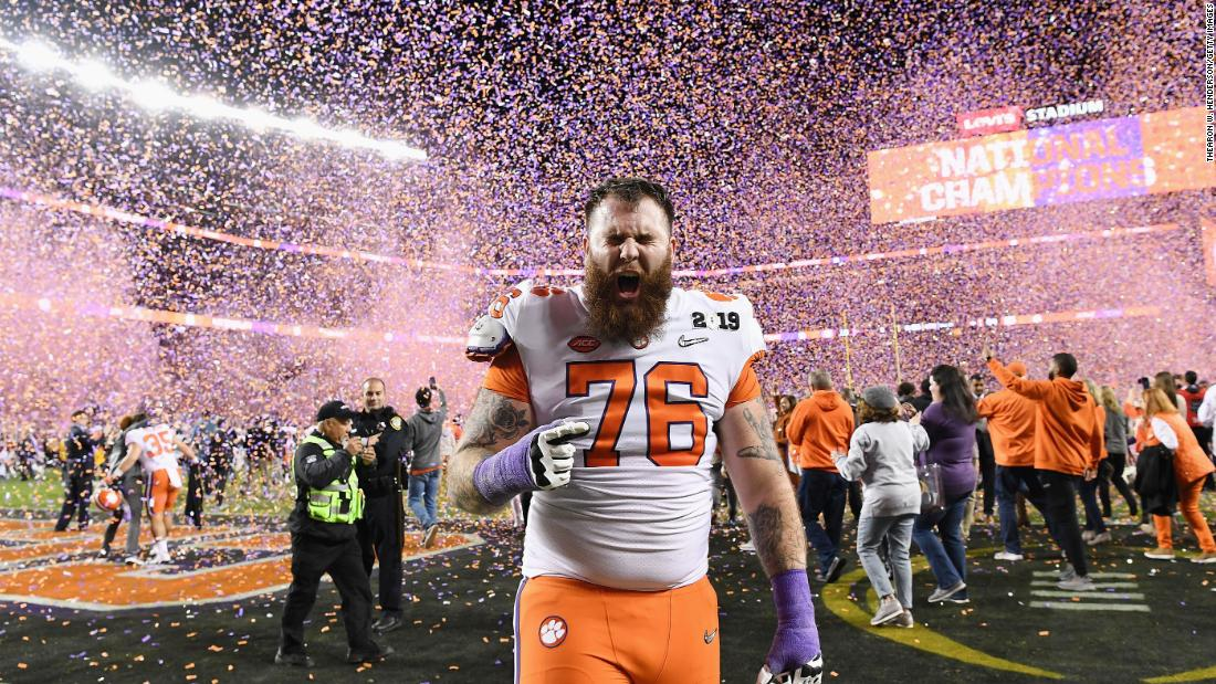 Clemson offensive lineman Sean Pollard celebrates his team's victory over Alabama.