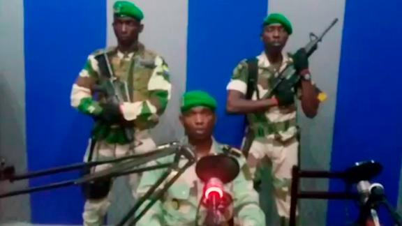 Soldiers on Gabon state TV read a statement saying they have seized control of the government on Monday, January 7, 2019.