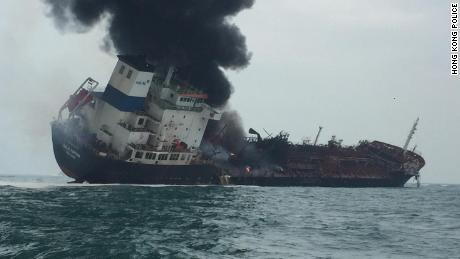 An oil tanker caught fire off Hong Kong's Lamma Island on January 8, 2019.