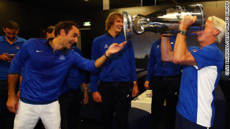 Bjorn Borg, (far right), Roger Federer (left) and Alexander Zverev celebrate winning the Laver Cup.