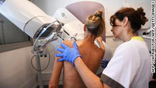 A patient has a mammogram at the Paoli-Calmette Institute in Marseille, France, on October 9, 2017.