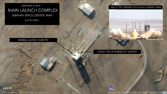 An image taken on January 4 shows a large truck parked at the mobile launch gantry of the Iranian spaceport.