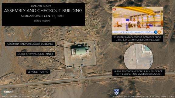 A large white shipping container was photographed outside the assembly and checkout building at the Imam Khomeini Space Center. This container was probably used to transport the rocket