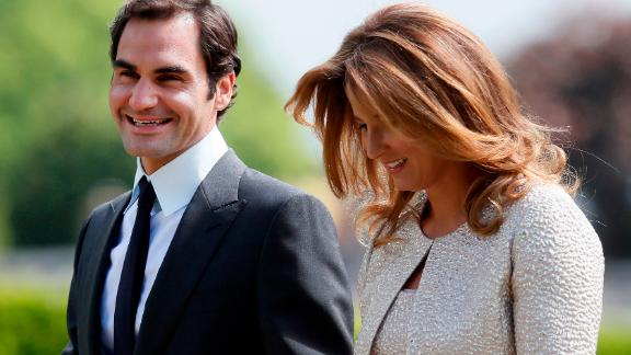 Federer and his wife Mirka arrive at the wedding of Pippa Middleton and James Matthews.