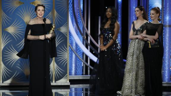 """Olivia Colman won best actress in a comedy for her performance as daffy Queen Anne in """"The Favourite"""" at the 76th annual Golden Globes."""