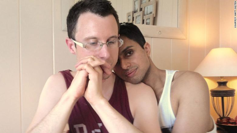 Matt Ogsten and his former partner Naz Mahmood, who had been urged to find a cure for his sexuality by his parents.