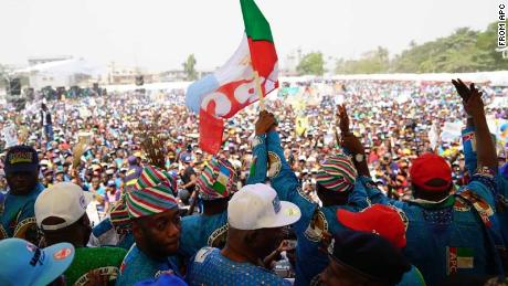 Party supporters at Nigeria's All Progressive Congress party campaign in Lagos, Nigeria on January 8, 2019.