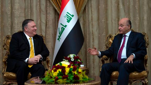 US Secretary of State Mike Pompeo (L) meets with Iraq's President Barham Saleh in Baghdad, during a Middle East tour, on January 9, 2019. - The eight-day tour comes weeks after the US President announced that the United States would quickly pull its 2,000 soldiers out of Syria, declaring that IS -- also known as ISIS -- had been defeated. (ANDREW CABALLERO-REYNOLDS/AFP/Getty Images)