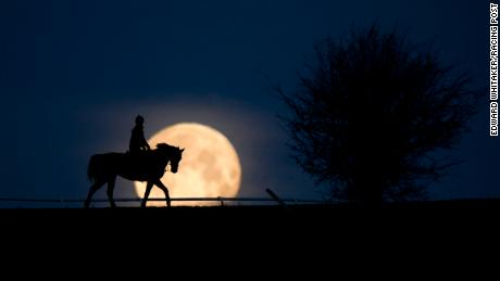 The blue supermoon sets over Mandown gallops