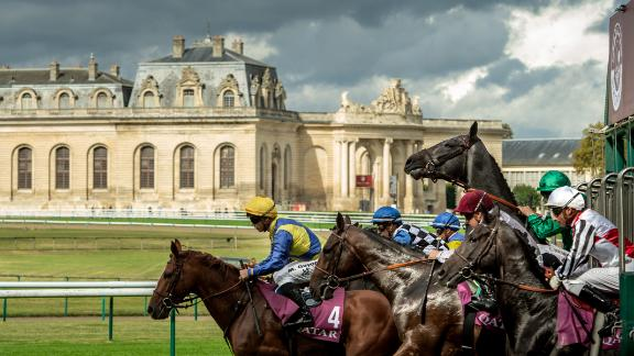 "Horses break from the stalls in front of the Great Stables at Chantilly, France in 2016. ""I love this shot because of the light and the horse rearing  at the start. It's just a dramatic picture. That one horse going up gives it great strength."""