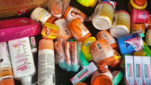 Photos of confiscated cosmetics seized from markets in Rwanda. The government started a campaign against skin bleaching and substandard cosmetics in November 2018.