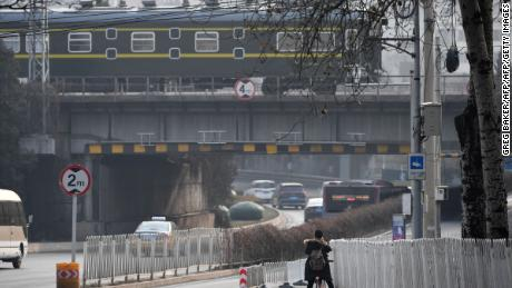 The train used by North Korean leader Kim Jong Un departs from Beijing on Wednesday.