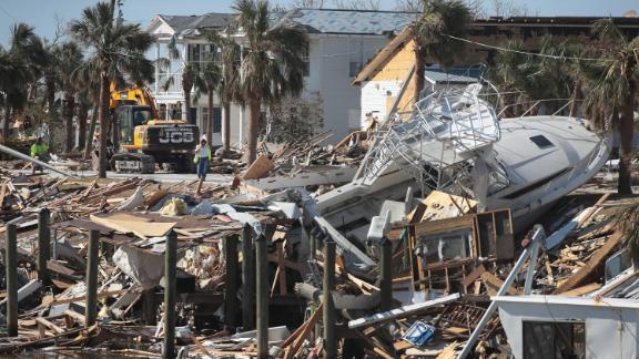 Debris from Hurricane Michael rests along the canal on October 18, 2018 in Mexico Beach, Florida. Hurricane Michael slammed into the Florida Panhandle on October 10, as a category 4 storm causing massive damage and claiming nearly 30 lives.