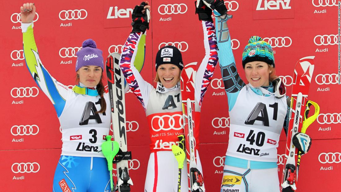 The American (right) secured her first World Cup medal in December 2011, winning a bronze in the slalom. Her potential didn't go unnoticed as she was named rookie of the year.