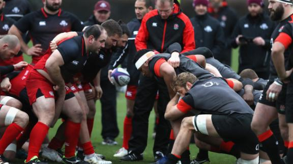 The Georgian and English scrums pack down against each other during a training session in London last year.