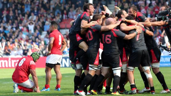 Georgia's players celebrate defeating Tonga at the 2015 World Cup.