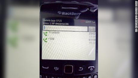 A BlackBerry that was seized during a US law enforcement raid of the Los Cabos home where Guzman had been hiding in 2012.