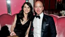 Jeff and MacKenzie Bezos attend the Amazon Studios Oscar Celebration in West Hollywood, California, in 2017.