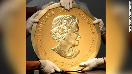 The giant coin was made by the Royal Canadian Mint. This photo shows an exact replica of the one stolen in Berlin.