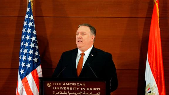 U.S. Secretary of State Mike Pompeo, gives a speech at the American University in Cairo, Egypt, Thursday, Jan. 10, 2019. Pompeo delivered a scathing rebuke of the Obama administration's Mideast policies as he denounced the former president for misguided and wishful thinking that diminished America's role in the region, harmed its longtime friends and emboldened its main foe: Iran. (AP Photo/Amr Nabil)