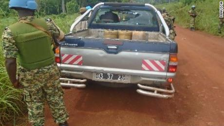 The Mitsubishi 4x4 that carried the journalists from Bangui, its rear window smashed by bullets.
