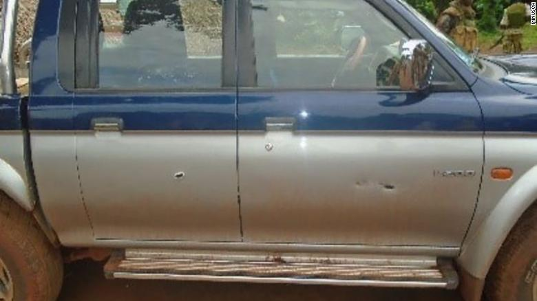 Bullet holes in the side of the vehicle carrying the Russian journalists.