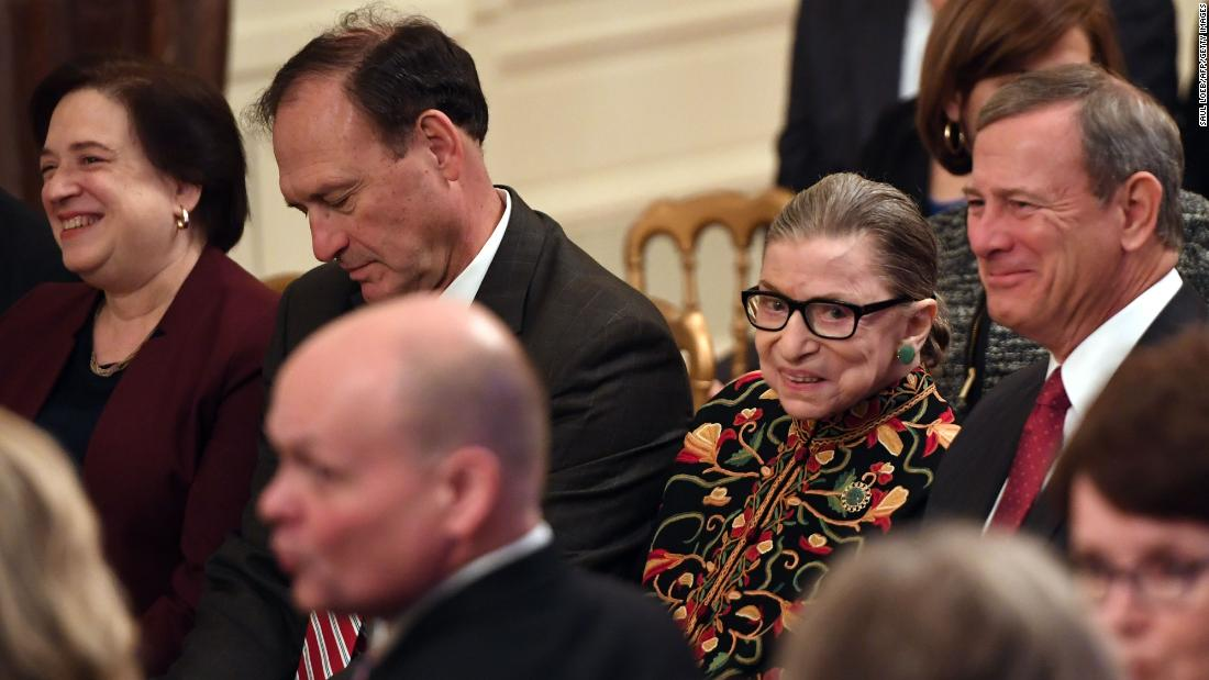 Ginsburg and other Supreme Court justices attend the Presidential Medal of Freedom ceremony at the White House in November 2018.