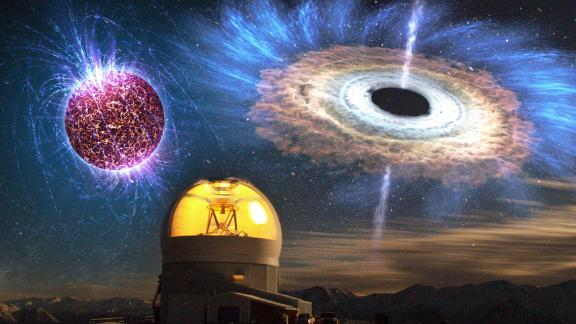 The SOAR telescope is pictured along with images of a highly magnetized neutron star, left, and an accreting black hole.