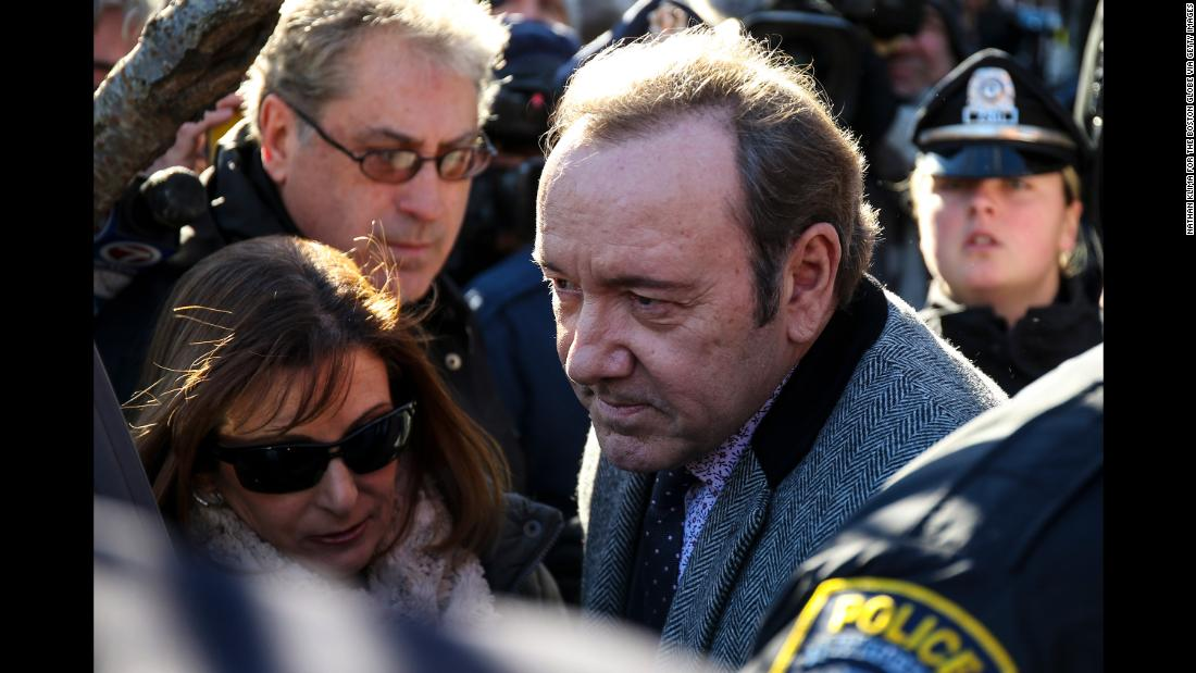 Kevin Spacey leaves court following his arraignment on a felony count of indecent assault and battery in Nantucket, Massachusetts, on Monday, January 7.
