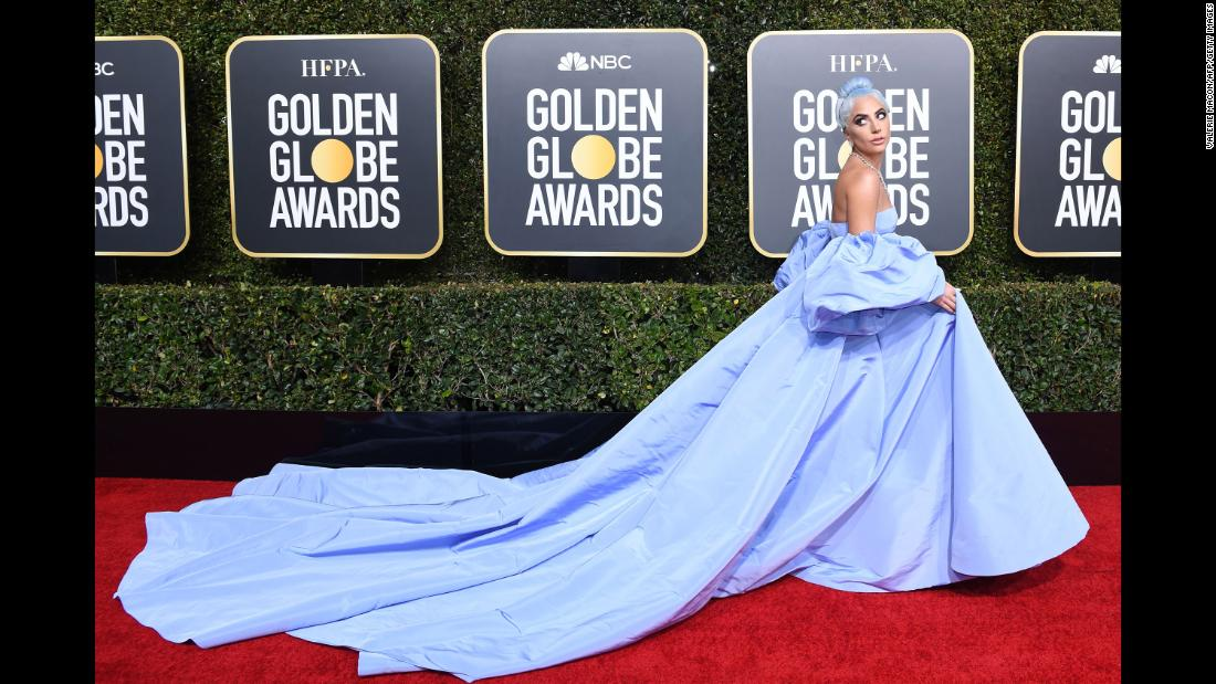 "Lady Gaga arrives for the Golden Globe Awards on Sunday, January 6. Gaga won Best Original Song - Motion Picture for the song ""Shallow,"" featured in the film A Star is Born. <a href=""http://www.cnn.com/2019/01/06/entertainment/gallery/red-carpet-golden-globes-2019/index.html"" target=""_blank"">See all the looks on the Golden Globes red carpet.</a>"