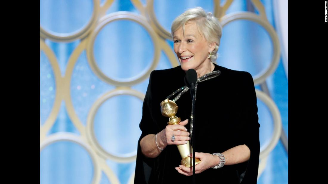 Glenn Close gives her acceptance speech after winning the Golden Globe for Best Actress - Motion Picture, Drama on Sunday, January 6.