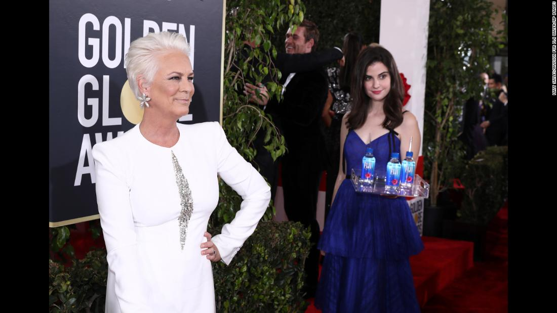 "Jamie Lee Curtis poses on the red carpet before the Golden Globes on Sunday, January 6. Fiji Water <a href=""https://www.cnn.com/2019/01/07/entertainment/fiji-water-golden-globe-scli-intl/index.html"" target=""_blank"">attempted to steal the spotlight</a> from celebrities as they walked the carpet, by placing model and actress Kelleth Cuthbert in everyone's shot. Curtis <a href=""https://www.instagram.com/p/BsZR1W3HTI4/"" target=""_blank"">posted on social media</a> that she was intentionally trying to avoid photos with her and Cuthbert together."