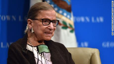 Associate Justice of the Supreme Court Ruth Bader Ginsburg gestures as she speaks to Georgetown University law students in Washington, DC on September 20, 2017.