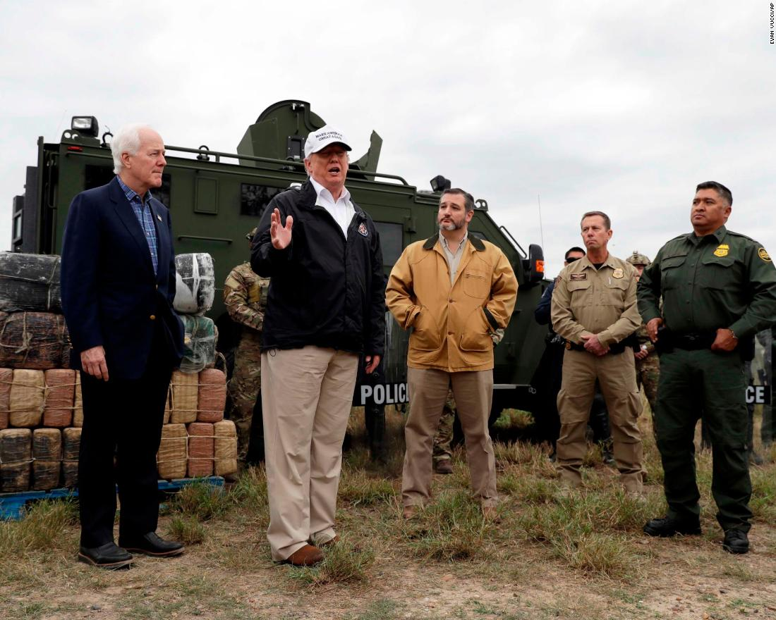 "Trump is joined by US Sens. John Cornyn, left, and Ted Cruz as <a href=""https://www.cnn.com/2019/01/10/politics/trump-southern-border-visit/index.html"" target=""_blank"">he visits the US-Mexico border</a> near Mission, Texas, on Thursday, January 10. Trump, surrounded by border patrol agents, said: ""We need security. We need the kind of backup they want."""