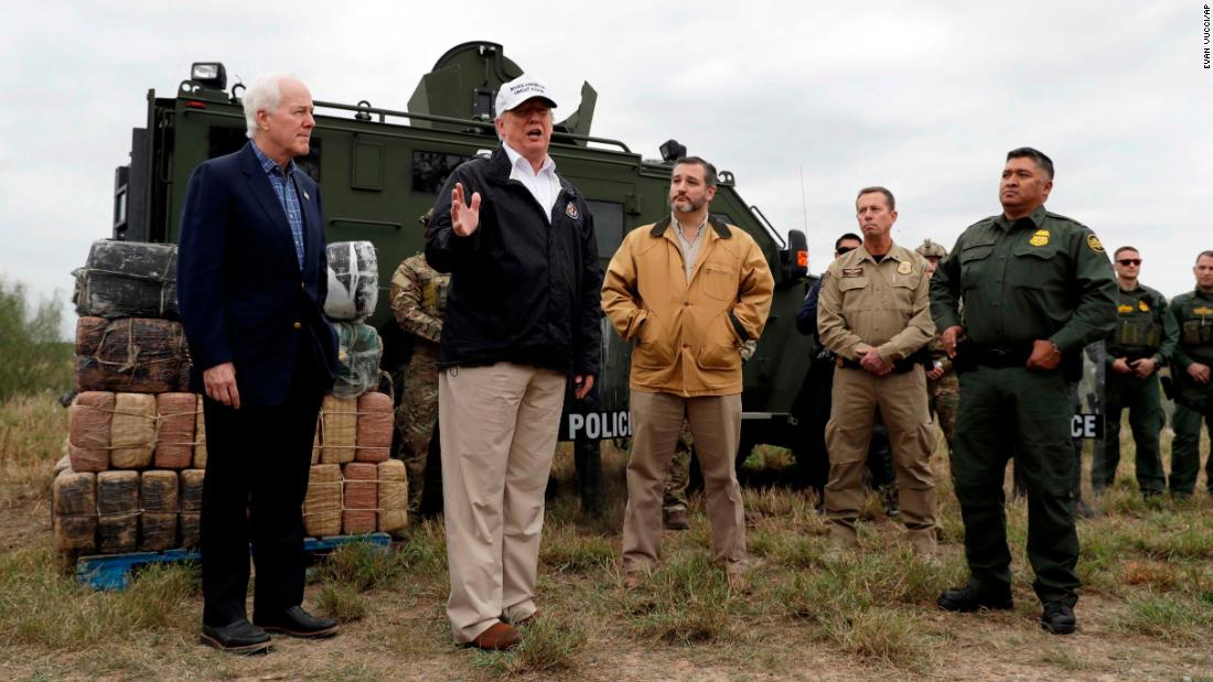 "US President Donald Trump, second from left, is joined by US Sens. John Cornyn and Ted Cruz as <a href=""https://www.cnn.com/2019/01/10/politics/trump-southern-border-visit/index.html"" target=""_blank"">he visits the US-Mexico border</a> near Mission, Texas, on Thursday, January 10. The standoff over Trump's proposed border wall prompted a partial government shutdown that began in late December."