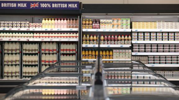 Cartons of milk are pictured for sale inside a Jack's store during its press launch in Chatteris, near Cambridge, east of England, on September 19, 2018, during the lauch of supermarket giant Tesco's latest discount venture, Jack's. - British supermarket giant Tesco on Wednesday announced plans for discount food stores across the country, as it comes under increasing pressure from German-owned Aldi and Lidl. Tesco, which is Britain's biggest retailer, said the first two Jack's stores open Thursday followed by up to another 13 over the next six months. (Photo by DANIEL LEAL-OLIVAS / AFP)        (Photo credit should read DANIEL LEAL-OLIVAS/AFP/Getty Images)