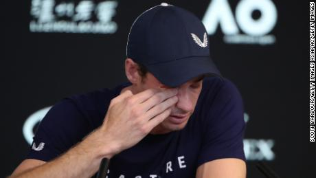Murray in tears following his first round defeat to Roberto Bautista Agut at the Australian Open.