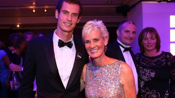 Judy Murray with son Andy Murray after the Scot won the 2013 Wimbledon Championships.