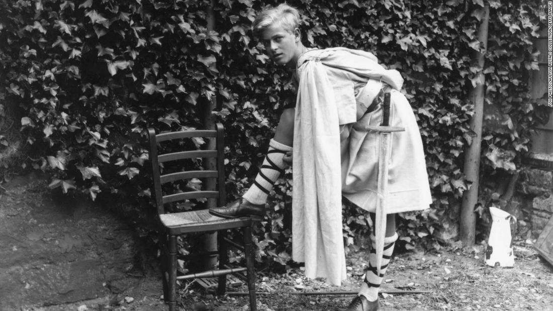 "Prince Philip is dressed for a production of ""Macbeth"" while attending school in Scotland in July 1935."