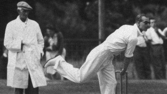 Prince Philip plays in a village cricket match in July 1949.