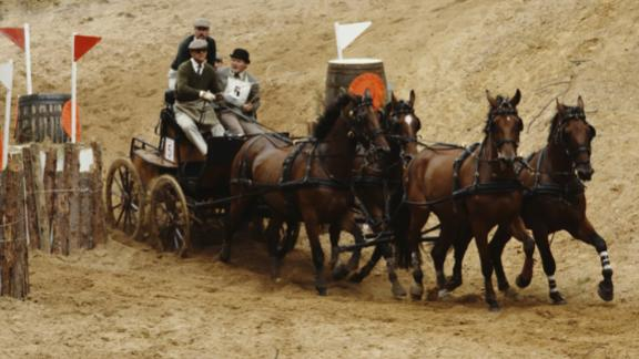 Prince Philip takes part in the World Carriage Driving Championships in 1980.