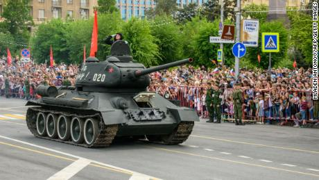 A Soviet T-34 tank drives in the Victory Day parade in May in Volgograd, Russia.