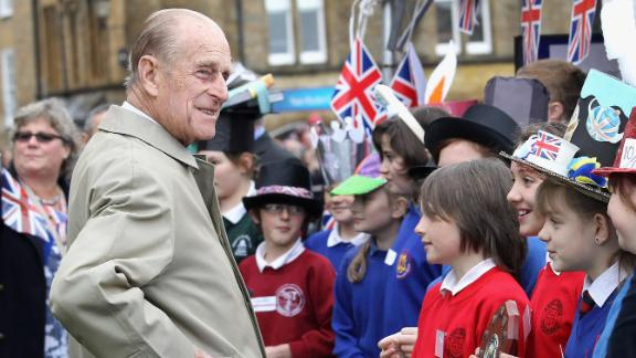 Prince Philip visits Sherborne Abbey during his wife's Diamond Jubilee tour in May 2012.
