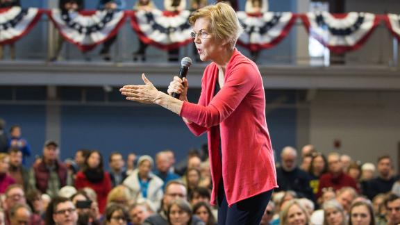Sen. Elizabeth Warren (D-MA), shown here in New Hampshire, has a plan to tax the wealthy.