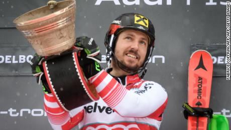 Austria's Marcel Hirscher celebrates after his win on the Chuenisbärgli in Adelboden.